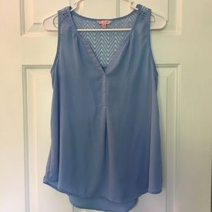 Candies Light Blue Tank Top size S Small Lace Back